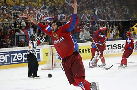 Radulov celebrates the win over Canada in May's World Cup