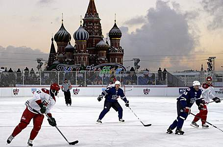 "While the NHL becomes ""plastic"", the KHL shows their own version of the outdoor classic....who's bringing hockey heritage further these days?"
